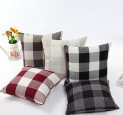 Classic large lattice pillowcase Natural linen home decorative plaid Pillow cover  45*45cm a one size