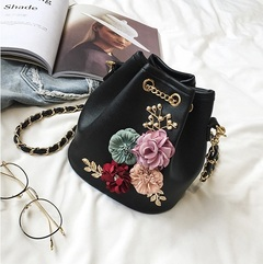New Fashion Handbag PU Leather Chain Hollow Out Women Shoulder Bag black one size