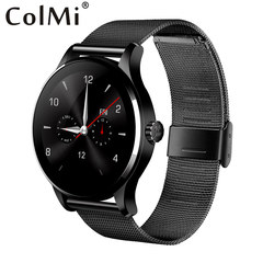 Smart Watch K88H IPS Round Screen Support Heart Rate Monitor Bluetooth smartWatch For IOS Android Metal black strap one size