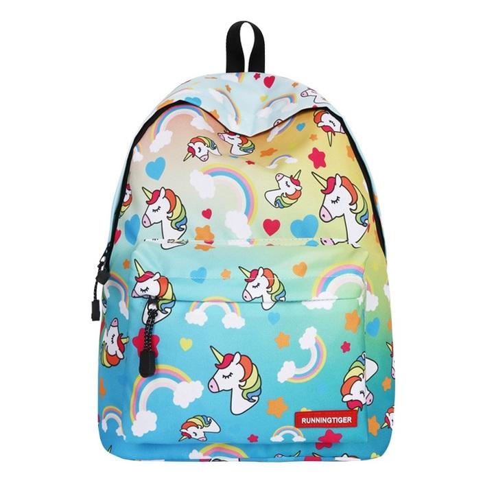 80a8f0f8c8 Cute Portfolio School Bag Children Anime Backpack With Unicorn Kids Female  Women For Girls Teenagers green