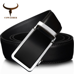 Automatic Buckle Metal Belts for Men Cow Genuine Leather Belt High Grade Fashion Style Leather Belts black 125cm