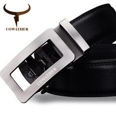 Luxury Cow Genuine Leather Male Strap Automatic Buckle Belt Newest Fashion Design Original Brand black 120cm