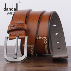 High Quality Luxury Cow Genuine Fashion Men`s Belts Strap Pin Buckle Cinto Masculino brown 110cm