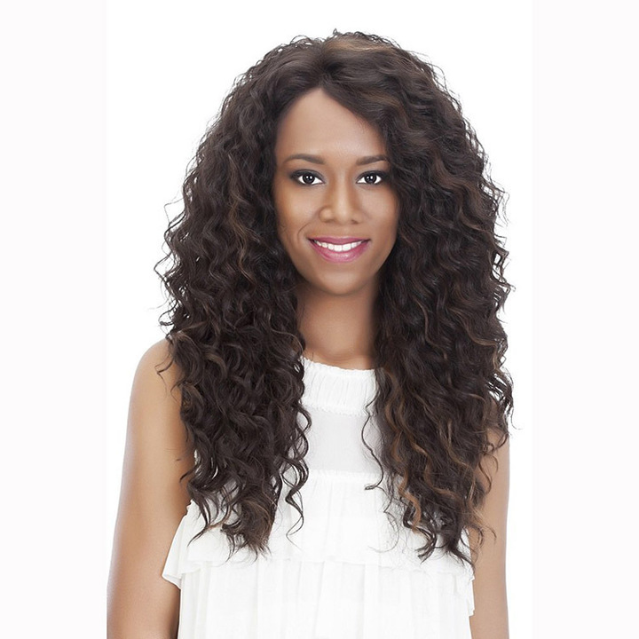 3 Color Corn Perm Long Curly Hair Style Full Wig And Human Hair Light Brown One Size