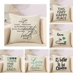 8 Different Cushion Cover Home Pillow Case Cotton Linen Sunshine Love Letter Cushion Sofa Bedroom 2 45*45cm