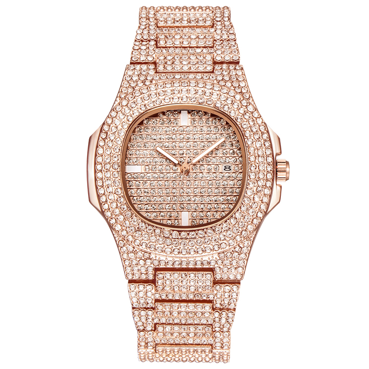 Luxury Fashion Diamond Automatic Date Quartz Watch Gold Stainless Steel Business Watches RoseGold One Size