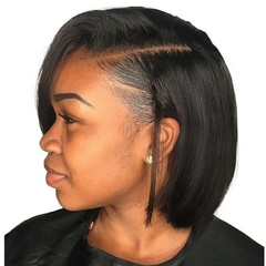 Short  Lace Front Wigs Brazilian Remy Hair Bob Wig With Pre Plucked Hairline Bleached Knots Black 10inch