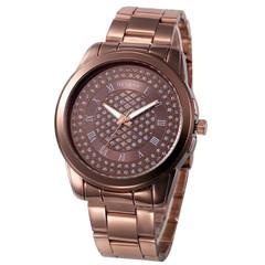 Geneva Watch Laides Quartz Wristwatches Stainless Steel Silver Gold Watches Gift Quartz Wristwatches Brown one size