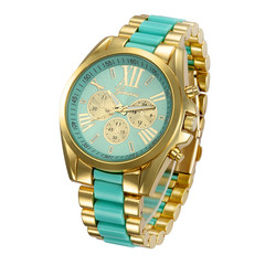 Geneva Watch Laides Quartz Wristwatches Stainless Steel Watches Gift Quartz Wristwatches Sky Blue one size