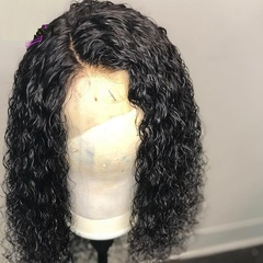 Curly Wig Brazilian Lace Front Human Hair Wigs Lace Front Wig Remy Hair Pre Plucked Bleached Knots Black 10inch
