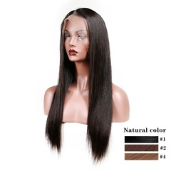 Brazilian Lace Front Human Hair Wigs Remy Hair Straight Wig With Baby Hair Natural Hairline Full End Black 22inch