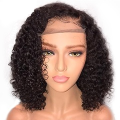 Short Lace Front Chemical fiber Hair Wigs Pre Plucked Curly Brazilian Remy Hair Lace Front Bob Wigs Natural Color 14inch