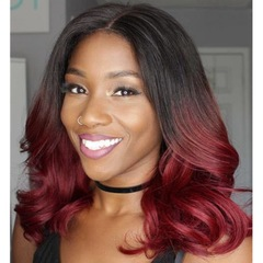 Body Wave Lace Front Human Hair Pre Plucked Brazilian Remy Hair Wigs Bleached Knots Gradation WineRed one size