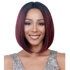 Straight Short Lace Front Human Hair Pre Plucked Brazilian Remy Hair Wigs Bleached Knots Gradation WineRed one size