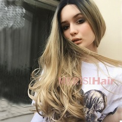 Gradation Golden Body Wave Lace Front Human Hair Long Curly Wigs Pre Plucked Brazilian Remy Hair Golden one size