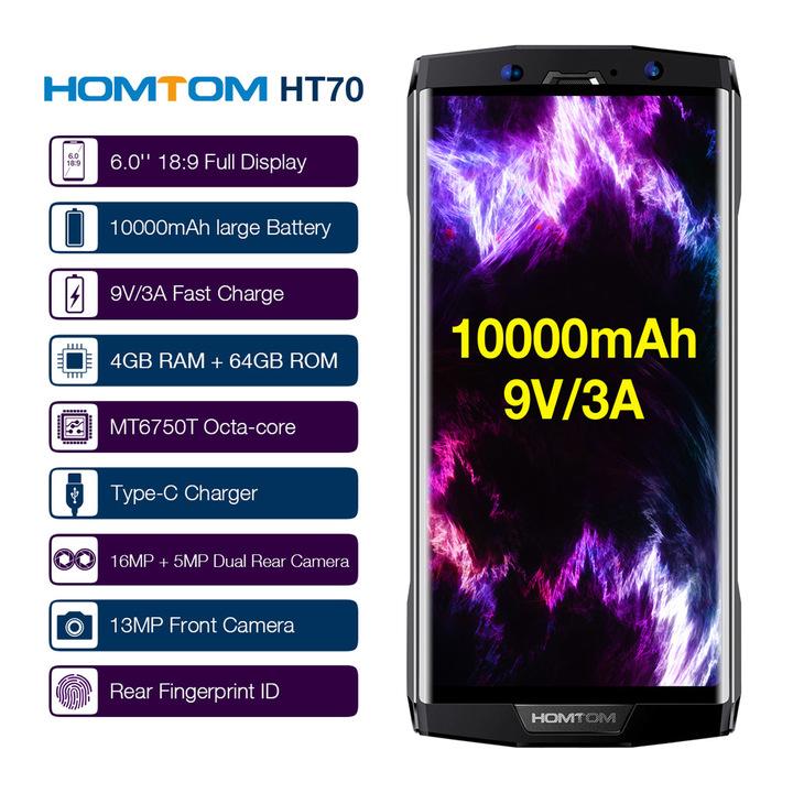 HOMTOM HT70 10000mAh New Phone 4+64GB 6''18:9 HD+ Display  16MP+13MP Dual Cameras Fingerprint white
