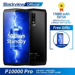 Blackview P10000 PRO Smartphone 11000mAh big battery 5V/5A Face ID 4+64GB 18:9 5.99