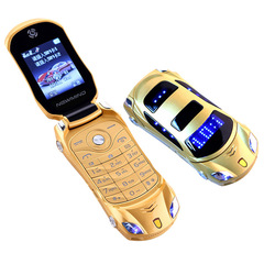 Original Newmind F15 Unlocked Flip Phone Dual Sim Mini Sports Car Model  Bluetooth Mobile yellow