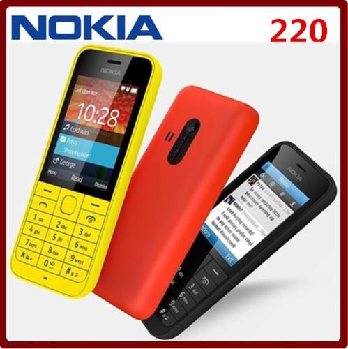 Original Nokia 220 Dual sim Card 2G GSM 1100mAh Unlocked Cheap Celluar Phone white