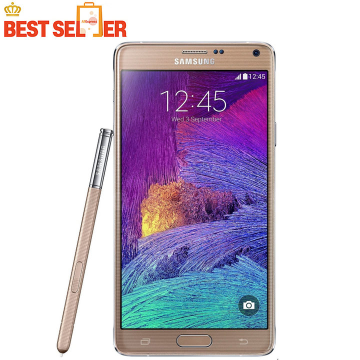 Refurbished Samsung Galaxy Note 4 Unlocked Note4   5.7'' inch 16MP 3GB RAM + 16GB ROM Smartphone gold