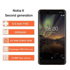 Refurbished Nokia 6 Second generation 4GB+32GB/64GB Mobile phone 5.5'' 16.0MP+8mp 3000mAh Smartphone black 4+32gb