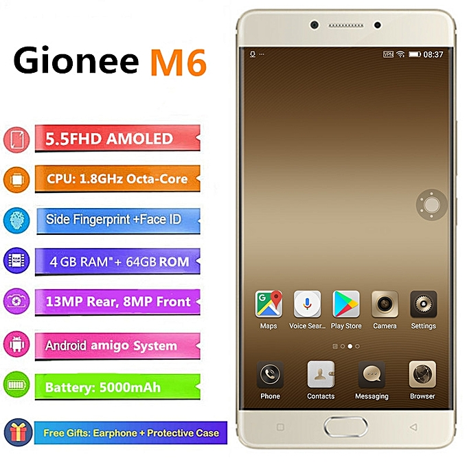 Certified Refurbished: Gionee M6 5.5-Inch 4GB RAM+64GB/128GB 13MP + 8MP Dual SIM 4G Smartphone gold  4+64GB