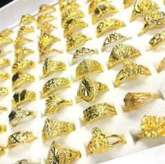 Wholesale bulk 100pcs ring set men women unisex Gold-plated imitation gold 100PCS random gold random