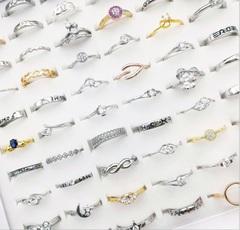 Wholesale bulk 100pcs ring set men women unisex Silver-plated  100PCS random silver-plated random