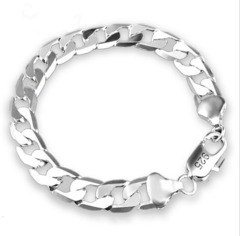 European and American classic fashion personality men's high-grade silver plated bracelet silver-plated width 6mm