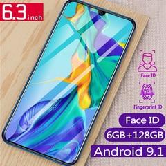 New smart phone 6.3inch 4G+64G/128g 16MP+8MP 4G LTE Fingerprint unlocked P35 Dual SIM smartphone black 4+64g