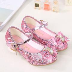 Princess shoes Kids Shoes Girls Shoes Little High Heel Glitter Party Wedding Children Shoes pink 26