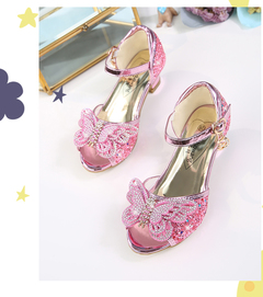 Summer Kid Shoes Girls Dress Shoes Fancy  Princess Shoes Kids Formal Shoes Fishing Mouth Sandals pink 26