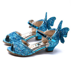 New Summer Children Shoes Kids Girls Princess Shoes for Baby Girls Bow-Knot high heels Shoes blue 26