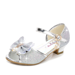 summer fashion Girls Sandals Cute Butterfly Pearl High Heels Bling Kids Princes large Girls shoes sliver 26