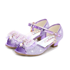 2019 New Summer Children Girls Shoes High Heeled Lovely Baby Princess Pearl Shoes Kid Sandals Shoes purple 26
