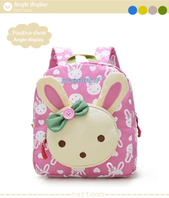 new kindergarten baby children's bag bear rabbit green cartoon backpack school bag student bag Pink