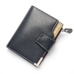 ELE  Business Leisur MenWallet Multi-functional Leather Clip Zipper With Three-fold Card Pocket black 12cm*9.5cm*2cm
