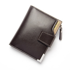 ELE  Business Leisur MenWallet Multi-functional Leather Clip Zipper With Three-fold Card Pocket brown 12cm*9.5cm*2cm