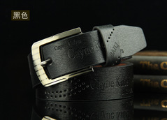 Buckle Belt Fashion Casual Leather Hollowed Archaize Cowhide Leather Belt Men Fashion Accessories Black common