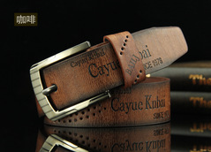 Buckle Belt Fashion Casual Leather Hollowed Archaize Cowhide Leather Belt Men Fashion Accessories Coffee common