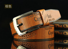 Buckle Belt Fashion Casual Leather Hollowed Archaize Cowhide Leather Belt Men Fashion Accessories Brown common