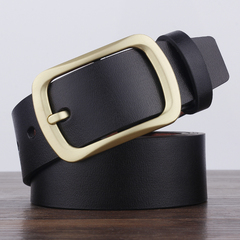 High quality men's genuine leather Cowhide belt belts men luxury strap male fashion pin buckle black common