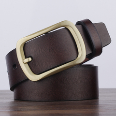 High quality men's genuine leather Cowhide belt belts men luxury strap male fashion pin buckle coffee common
