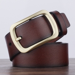 High quality men's genuine leather Cowhide belt belts men luxury strap male fashion pin buckle brown common