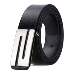 Men and women Fashion slide buckle Belt PU Leather Casual  Leisure Belts silvery-N common
