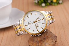 Fashion  Business Wrist Watch Men  Quartz Stainless Steel Wristwatches Double Calendar white common