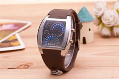 Smart LED Wrist Watch Electronics Digital Creative Dashboard Sport Wristwatch For Men Women brown band common