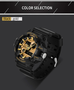 Men Military Wrist Watch Electronics Digital waterproof Sport Wristwatch For Men black-gold common