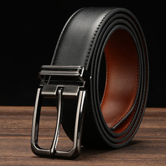 Business Belts Waistband men's genuine leather Cowhide belt belts men luxury male pin buckle Gift black common