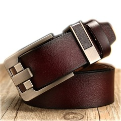 vintage Fashion men's genuine leather Cowhide belt belts men luxury strap male pin buckle Gift brown common
